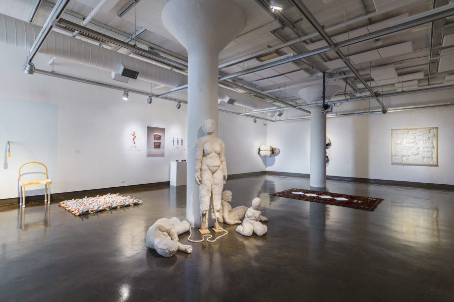 Installation view, Ella Hilsenrath (center)