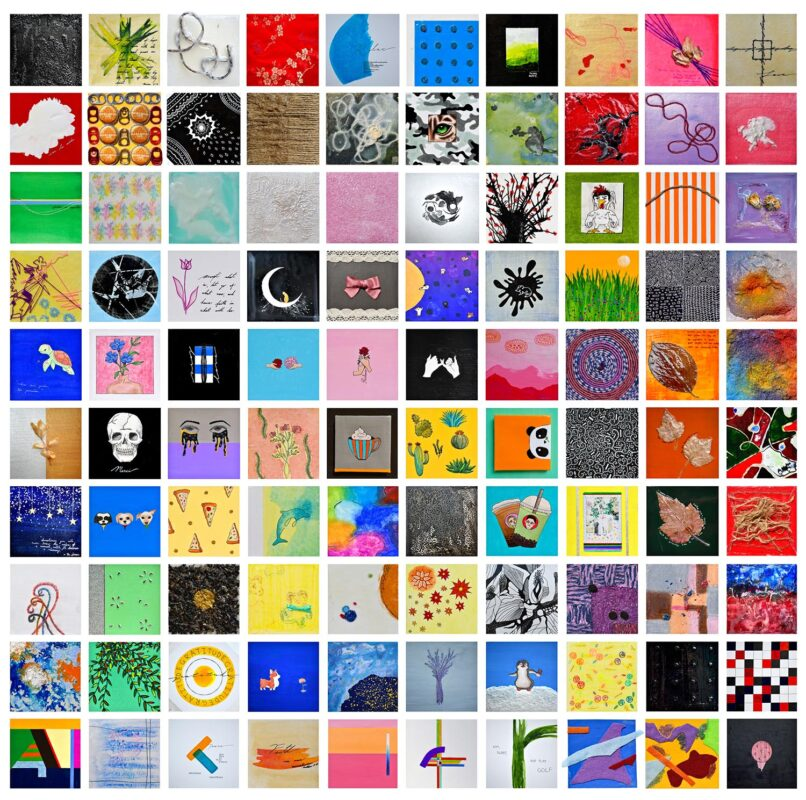 Viviann Lu: <i>Vineyard</i>, 2020. Mixed media on illustration boards. (4 x 4 inches)each.