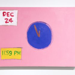 "A painting by Claude R. Jeong. The painting depicts a circular shape in the center that resembles a clock without numbers. In the lower left corner is a yellow box with ""11:59 PM"" painted in green. In the top left corner there is a white box with ""Dec 24"" painted in red. The background is pink."