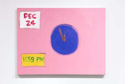 A painting by Claude R. Jeong. The painting depicts a circular shape in the center that resembles a clock without numbers. In the lower left corner is a yellow box with