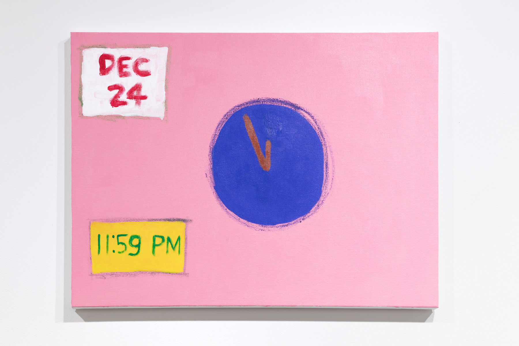 """A painting by Claude R. Jeong. The painting depicts a circular shape in the center that resembles a clock without numbers. In the lower left corner is a yellow box with """"11:59 PM"""" painted in green. In the top left corner there is a white box with """"Dec 24"""" painted in red. The background is pink."""