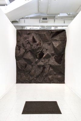 A small brown rug sits at the front of a white room in which the far back wall has been transformed into a bulging rocky like terrain covered soil
