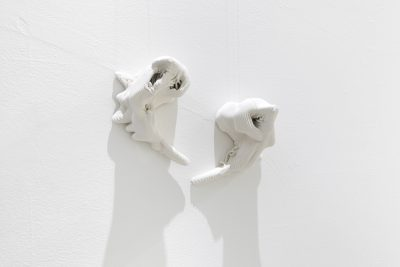 2 3d printed ceramic sculptures installed on a white wall