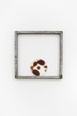 A steel square frame hangs on a white wall with a small round dish resting at the bottom. Inside the dish are large brown orbs of oxidized blood.