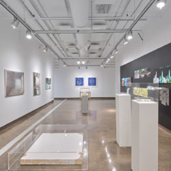 "An installation view of an exhibition at the SVA Chelsea Gallery for the exhibition titled ""Liminality"". The view shows a white room with artworks hanging on the walls. In the foreground are three white pedastals with artwork on them and a plexiglass vitrine on the ground covering an artwork."