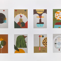 A selection of 8 art prints hanging on a white wall in a grid format. The prints depict various fictional scenes using different figures and shapes of various colors.