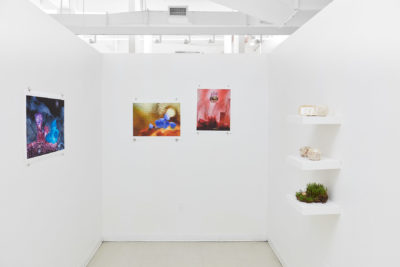 In a white room three photographs hang on a wall and on the opposing wall a shelf holds small sculptures