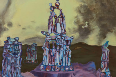 A painting of statue like stone figures piled on top of each other.