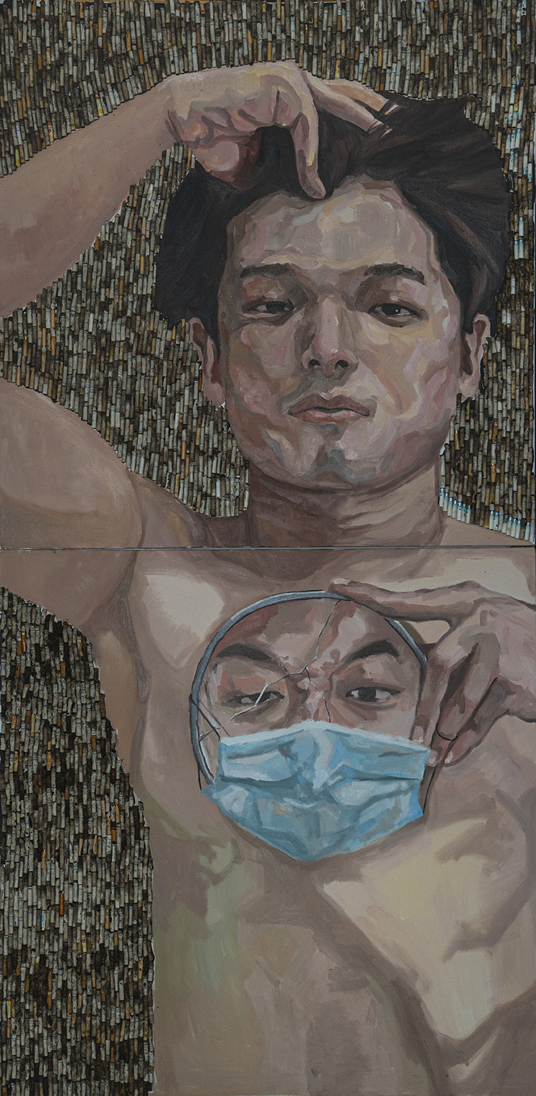 A self-portrait of a man laying in front of cigarette butts, with a mirror in hand showing another face of the man with mask on.
