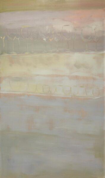 Yiyi Gu, Glasses on shelf, 2019. Oil on canvas, 35 x 60 inches.