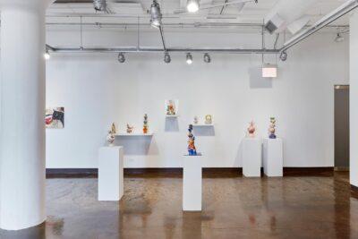 Xichao (Carol) Cao, <i>Untitled</i>, 2019. Glazed Ceramics. Installation view of