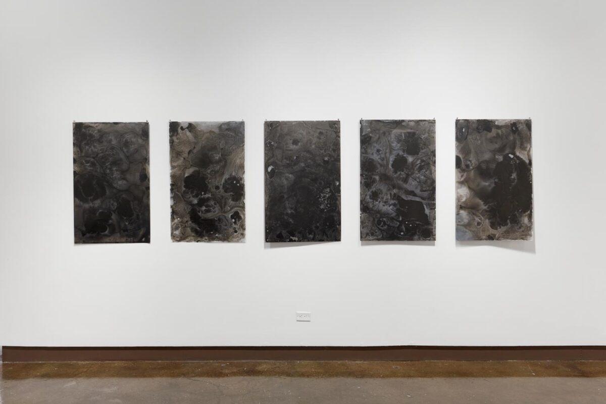 Lisha Yan, A Black Film, 2019. Ink on mylar, 25 x 40 inches (series of 5).