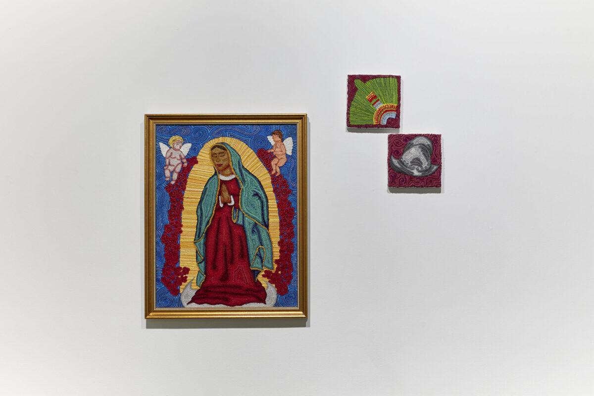 Breanna Gartner: La Madonna Guadelupe, 2019. Embroidery, linen. 30 x 20 inches.