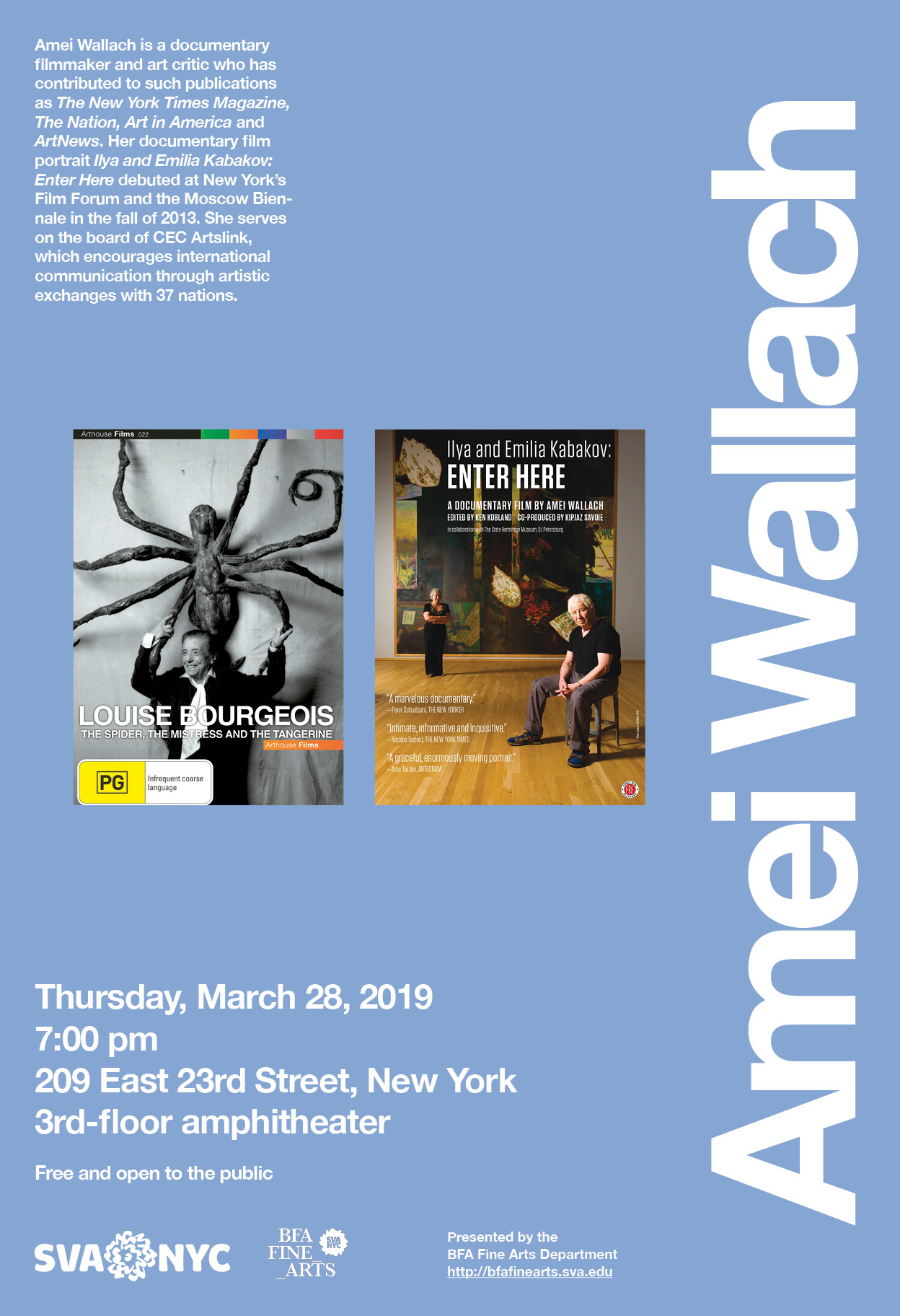 Poster for Lecture by Amei Wallach - SVA BFA Fine Arts