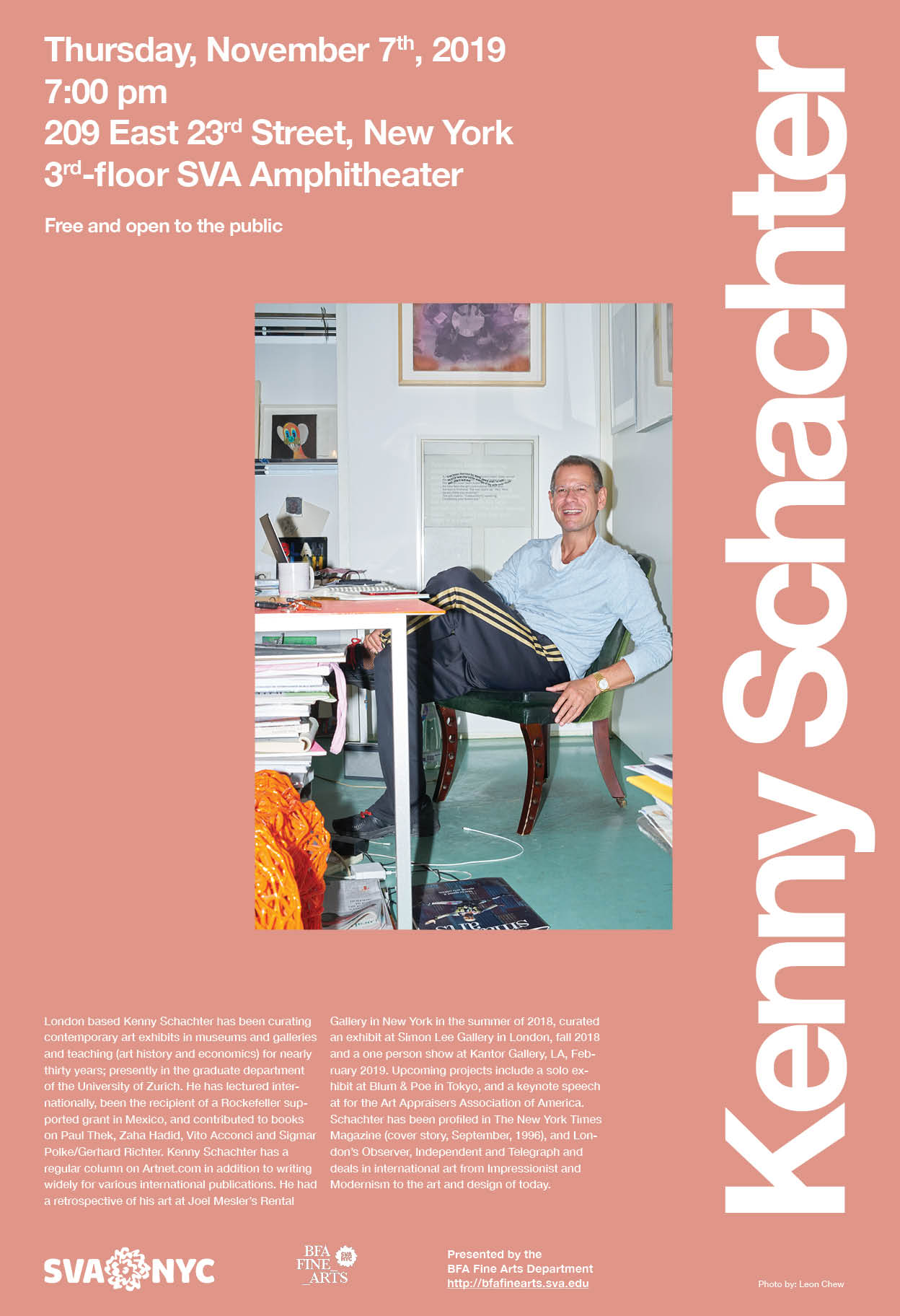 Poster for Kenny Schachter's lecture at SVA - Fall 2019