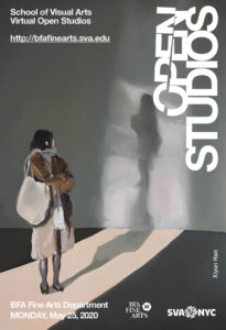 A poster advertising the BFA Fine Arts virtual Open Studios on Monday, May 25, 2020. The poster shows a painting by Xinyu Han. The painting depicts a woman standing in an empty room looking back at her shadow.