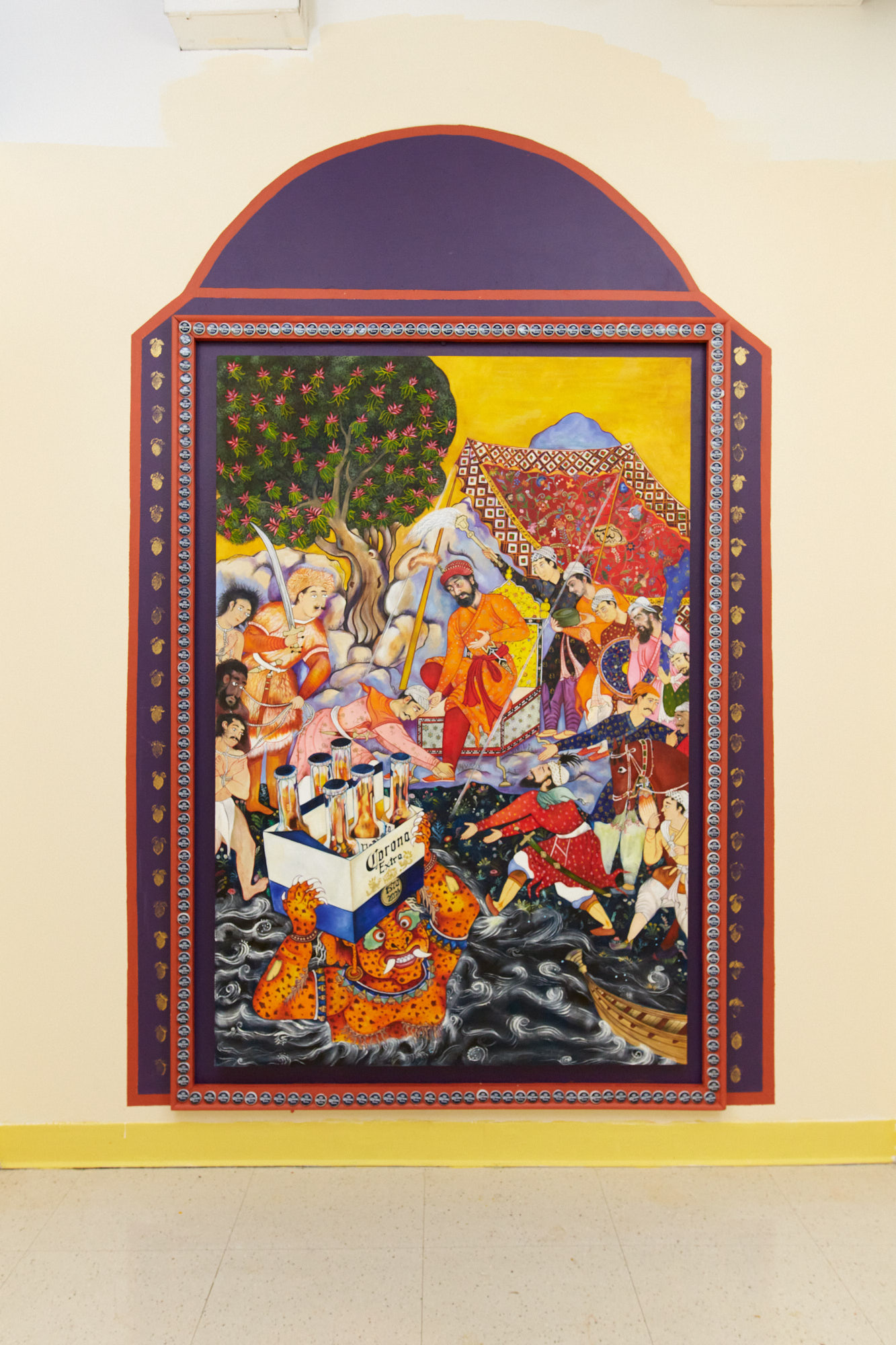 The painting depicts an orange demon emerges with a corona beer case from underwater and presents it to a Mughal prince who is surrounded by three prisoners and eleven men who are his viziers, advisors and protectors. The artwork is mounted on a wall surrounded by a purple painted arch and framed with 205 Corona beer caps.