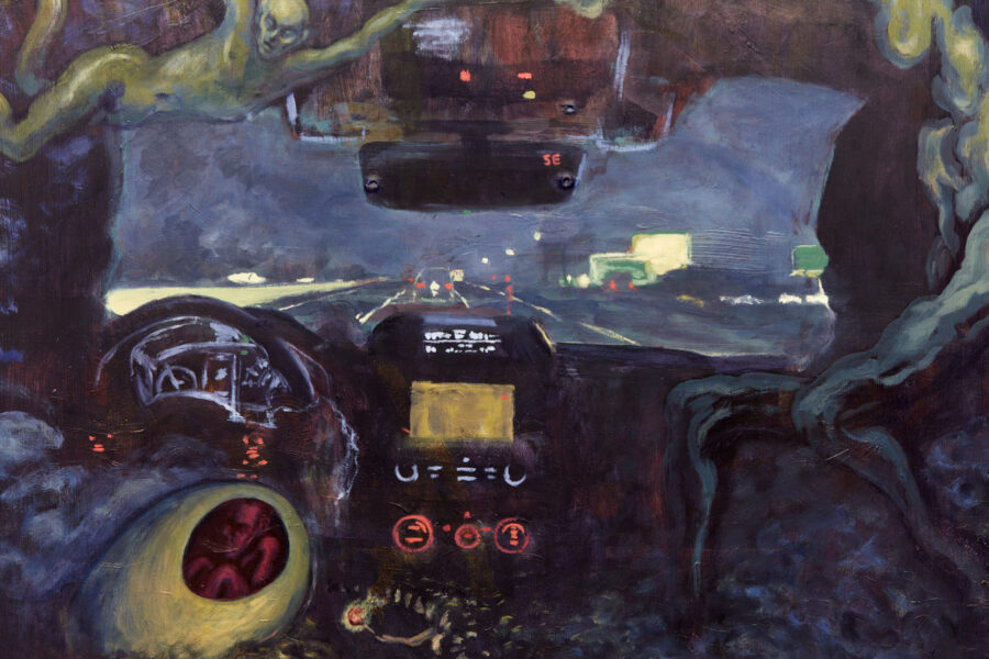 A scene from the perspective of someone in the backseat of a car going down the freeway at night. The inside of the car is dark besides for the light coming from the dashboard. This scene is framed by mist, an egg with a human fetus inside of it, and a floating green figure.