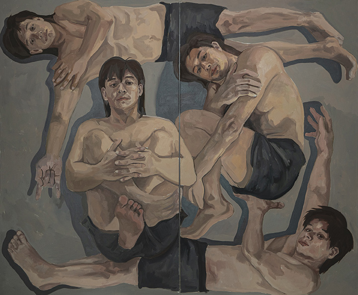 Four angles of the self-portraits laying on the edges on the canvas.