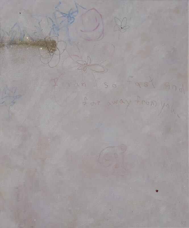 """White painting with drawing of teddy bear, gold glitter, scribbles and text """"i ran so fast and far away from you"""""""