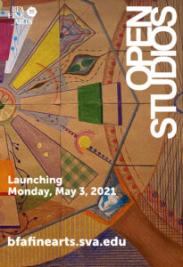 A poster advertisement for the 2021 Spring Open Studios event at SVA