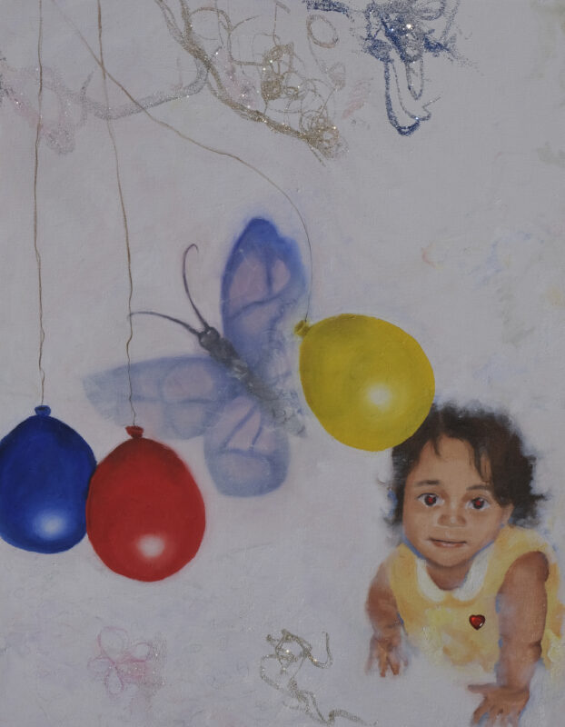 """Painting of a baby crawling, primary color balloons, butterfly and a rose. Text """" i fell in love with the sickness because it was poetic"""""""