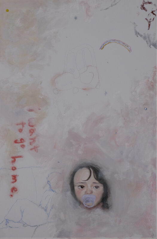 """Pink and white painting of a baby with a pacifier, rainbow, and drawing of a car. Pink glitter and text """"i want to go home"""""""