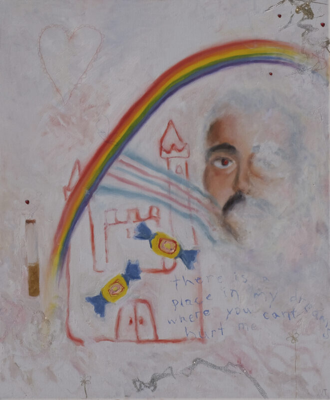 """White painting with a red castle, image of a man and cigarette, rainbow and pieces of gum, text """" there is a place in my dreams where you can't hurt me"""""""