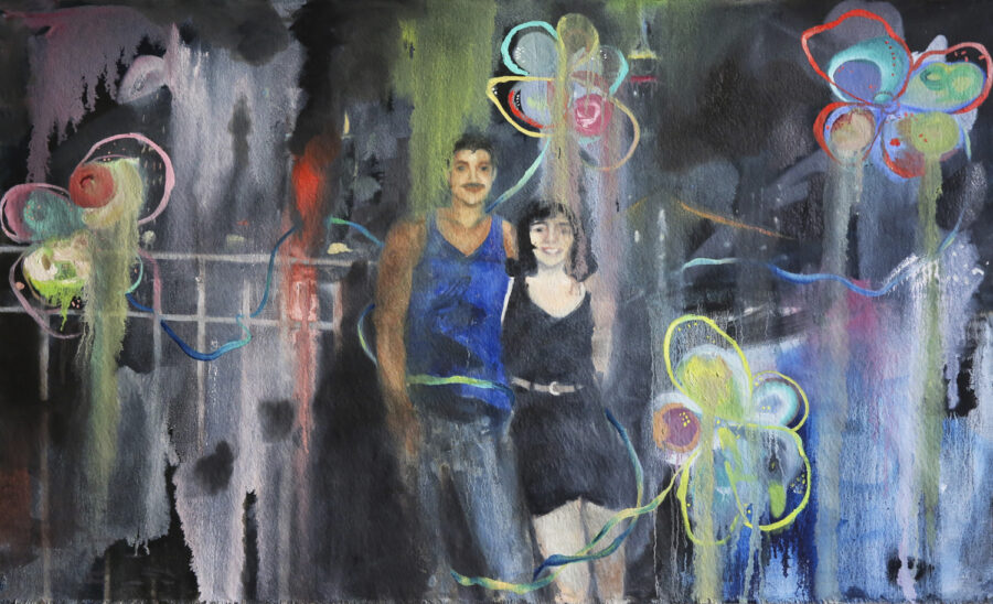 Abby Helms, Before The Four Of Us, 2020. Oil on unstretched canvas. 29 x 47 inches.