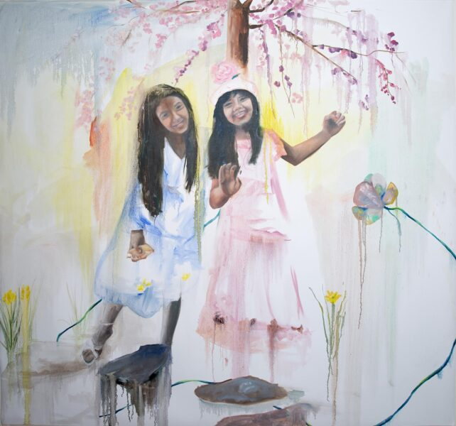 Abby Christian, <i>Cherry Blossom II</i>, 2020. Oil on unstretched canvas, 77 x 80 inches..
