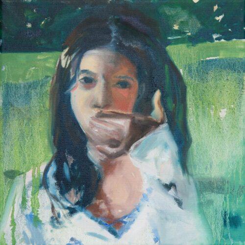 Abby Christian, Self Portrait On My Birthday, 2020. Oil on canvas, 12 x 12 inches.
