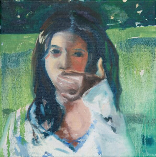 Abby Christian, <i>Self Portrait On My Birthday</i>, 2020. Oil on canvas, 12 x 12 inches.