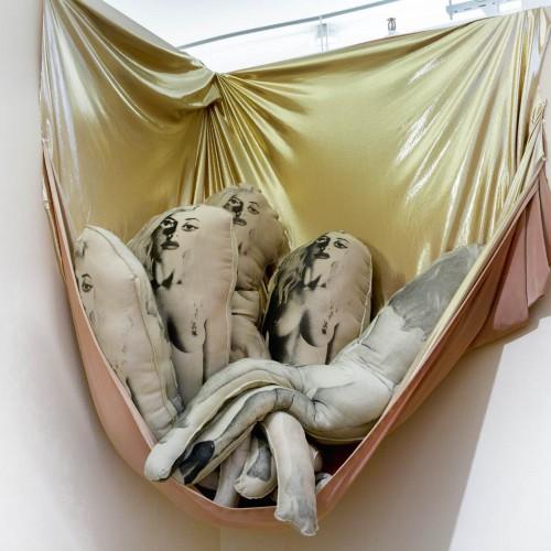 "Alexa Keshtgar: ""Untitled"". 43x20'. Ink, thread, stuffing, and nude cloths. 2014"