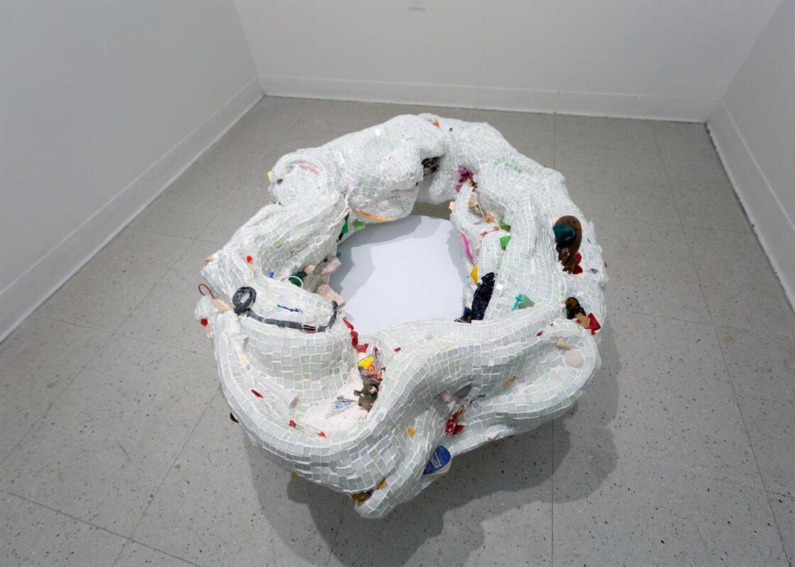 "Amelia Harrell: ""Fountain of the Swirlpool"", 2020. Oil paint on plaster, dried wood, dried mushroom, and powder 3D print. (12 x 13 x 6 inches)."
