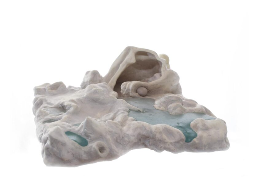 """Amelia Harrell: <i>""""Terrain Square with Cave""""</i>, 2020. Oil on plaster and powder 3D print. (12 x 13 x 6 inches)."""