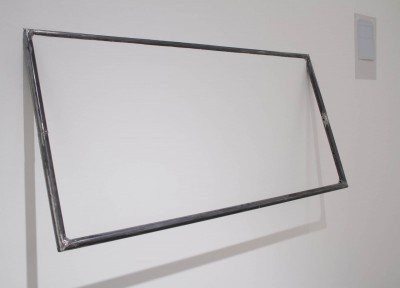 "Anna Fasano: ""Phases, one and two"". 2013. Drywall, house paint, wood, welded metal rods, paper, black ink, tape. Metal frame 2x5', drawing 3x5"""