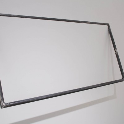 """Anna Fasano: """"Phases, one and two"""". 2013. Drywall, house paint, wood, welded metal rods, paper, black ink, tape. Metal frame 2x5', drawing 3x5"""""""