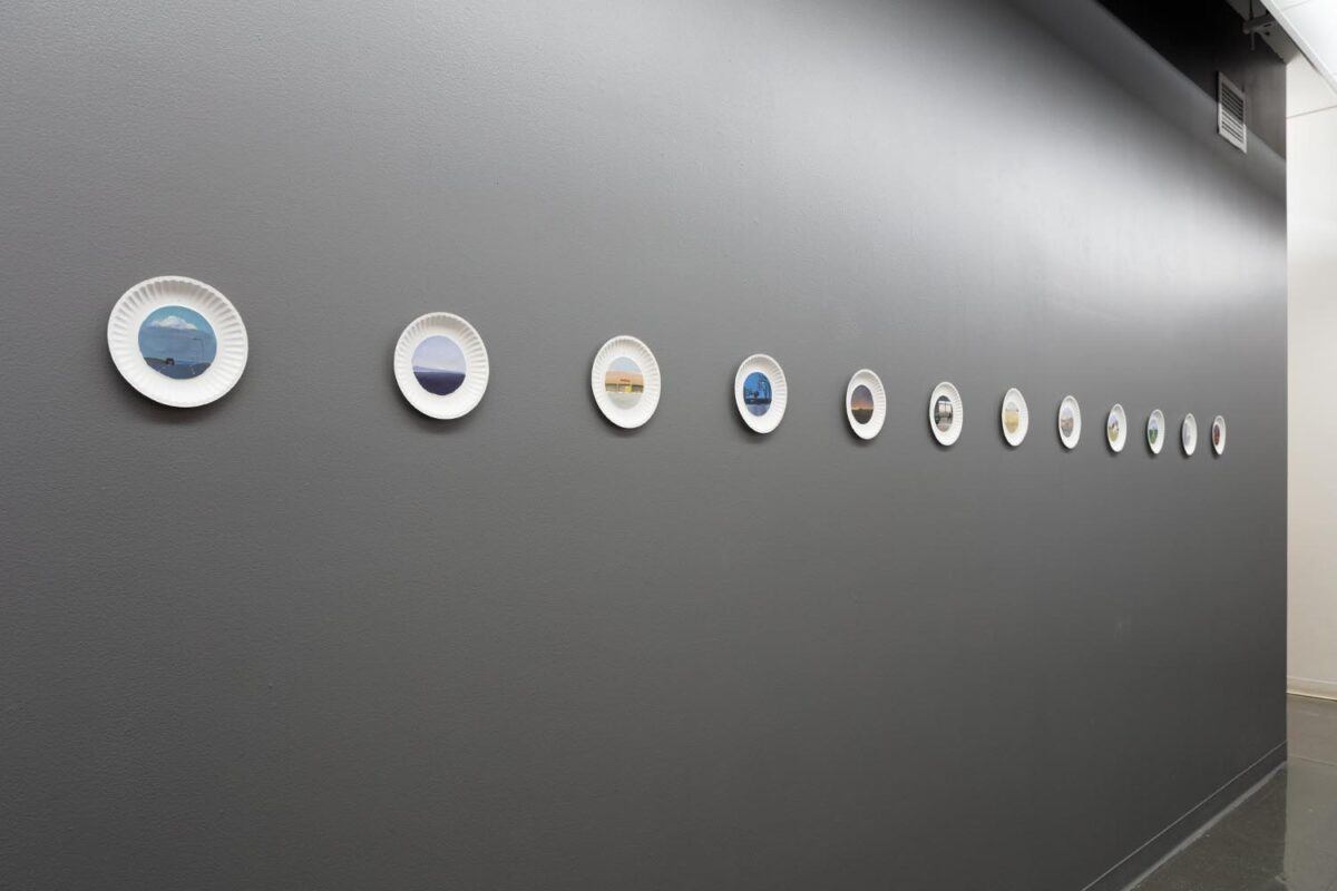 Anna Gryglak: Plate Series (installation view), 2019. Oil on paper plates. 6 inch paper plates.