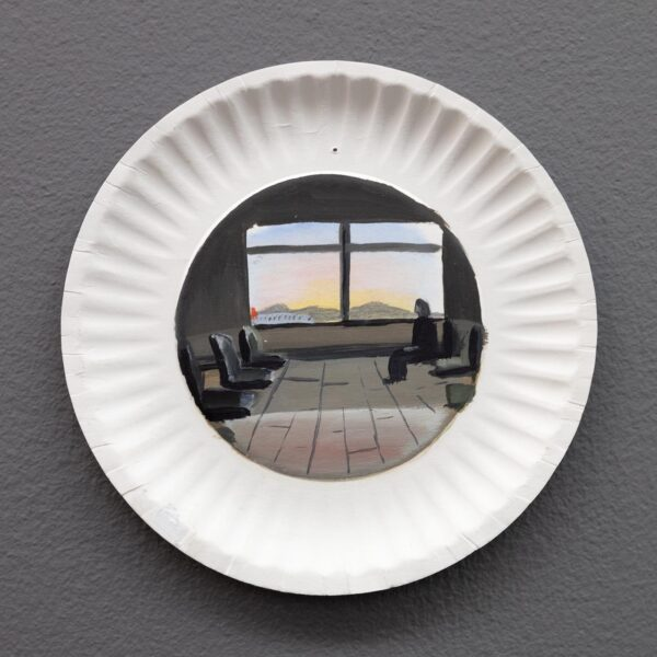 Anna Gryglak, Plate Series, 2019. Oil on paper plate, 6 inch paper plate.