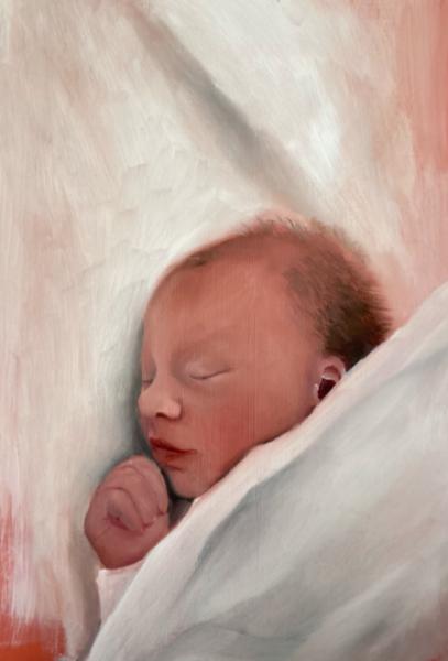 Anna Gryglak, Iza, 2020. Oil on wood, 24 x 18 inches.