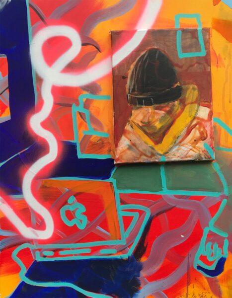 Austin Romanaux, Jack #2, 2020. Acrylic and spray paint on canvas, 28 x 22 inches.