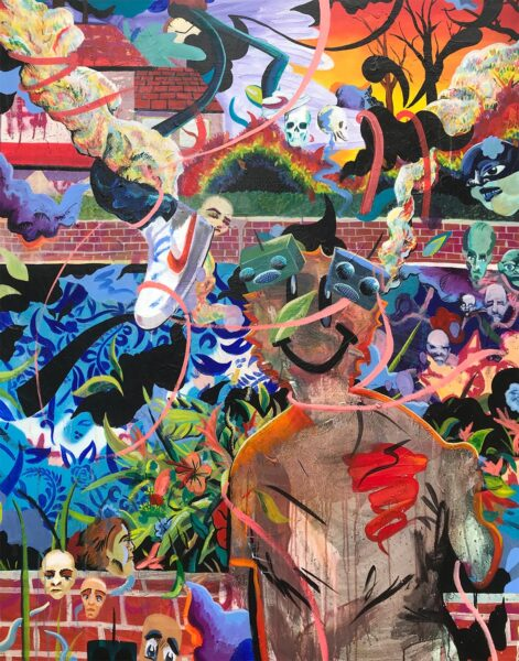 Austin Romanaux, In the Neighbor's Yard, 2020. Acrylic on canvas, 60 x 48 inches.