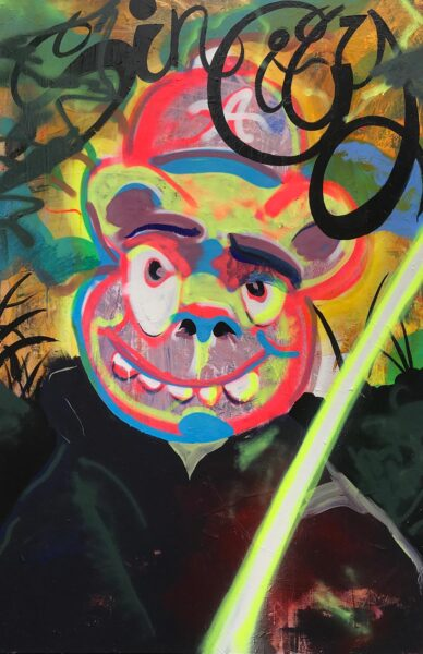 Austin Romanaux, Skywalker Green, 2020. Acrylic and spray paint on canvas, 72 x 48 inches.
