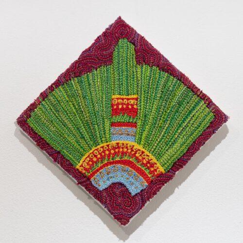 Breanna Gartner, Aztec Headdress, 2019. Embroidery, linen, 8 x 8 inches.