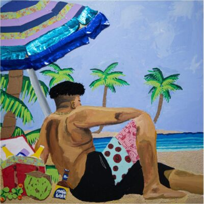 A self portrait painting by Bryan Fernandez. The painting depicts Fernandez sitting on a beach in the foreground looking out to the horizon. Water and palm trees are seen in the background.