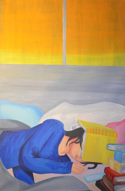 A painting of a young girl sleeping in her bed by the window. A book rest on her head. There is a stack of books to her right.