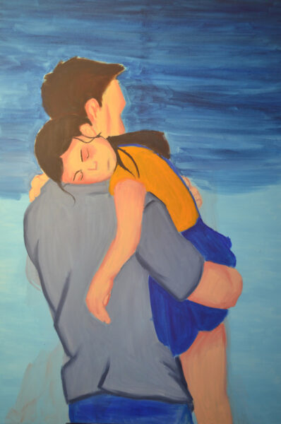 A painting of a father carrying his sleeping daughter back home as the sky gets darker.
