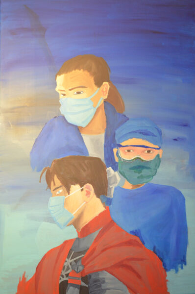 A painting of one male nurse dressed as a knight and two female nurses wearing face masks.