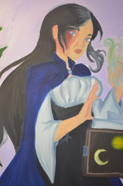 A close up painting of a young lady, who is an earth witch, wearing a dark blue cape and has a burn scar on her right eye. Leaves and her spell book are floating while she cast a spell with her glowing green hand.