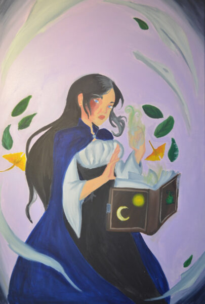 A painting of a young lady, who is an earth witch, wearing a dark blue cape and has a burn scar on her right eye. Leaves and her spell book are floating while she cast a spell with her glowing green hand.